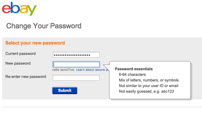 EBay password policy