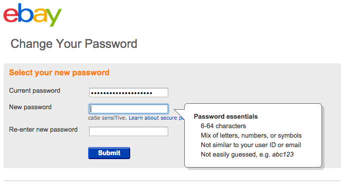 EBay password policy